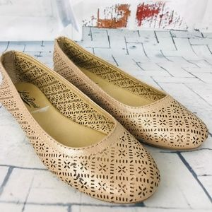 """Lucky Brand """"Eastlee"""" Perforated Tan Flats NWOB"""